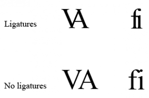Examples of ligatures, and what letters look like without ligatures.